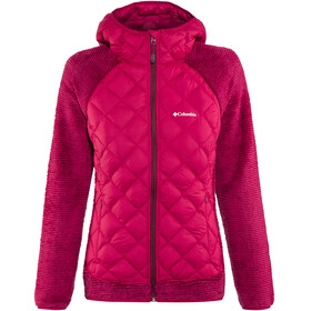 Columbia Techy Hybrid Fleece Jacket Women Pomegranate/Rich Wine Stripe